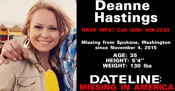 Deanne Hastings Missing Spokeane Washington