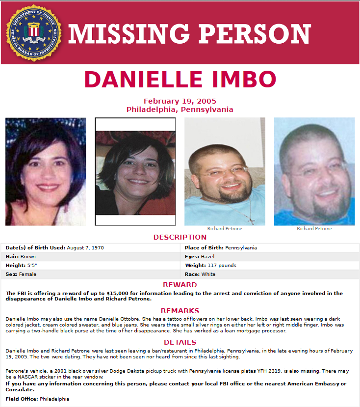 Richard Petrone & Danielle Imbo Missing Poster