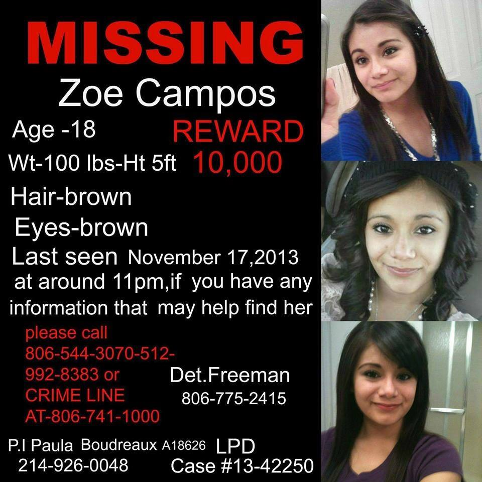 Zoe Campos Missing from Texas Disappeared