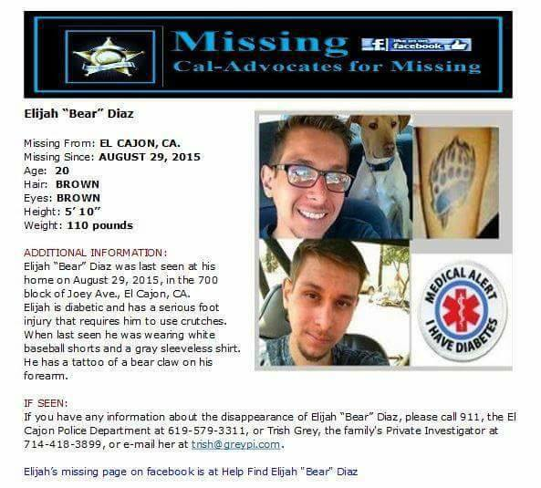 "Elijah ""Bear"" Diaz Missing from California"