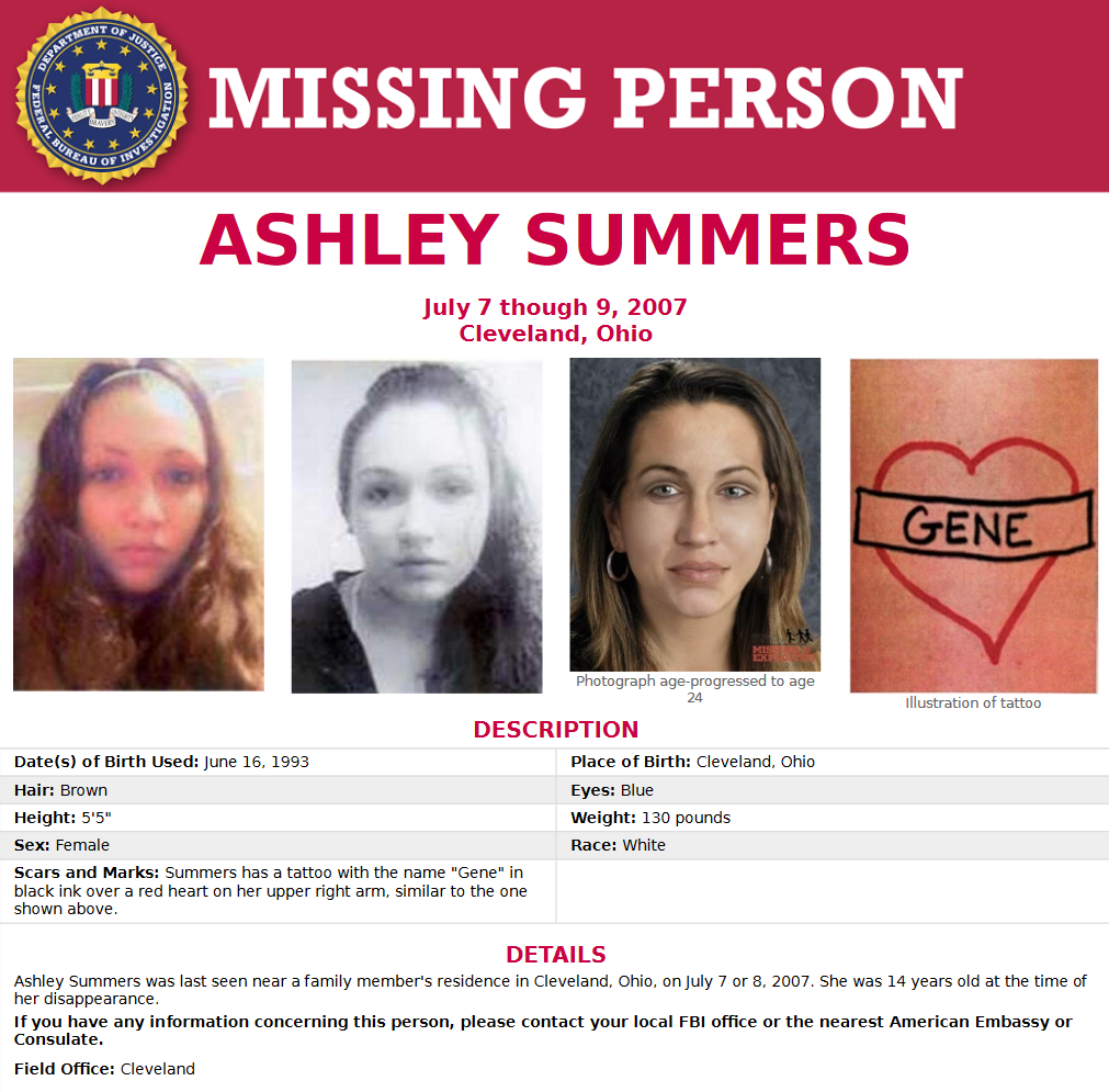 Ashley Summers Missing Since 2007 From Cleveland Ohio