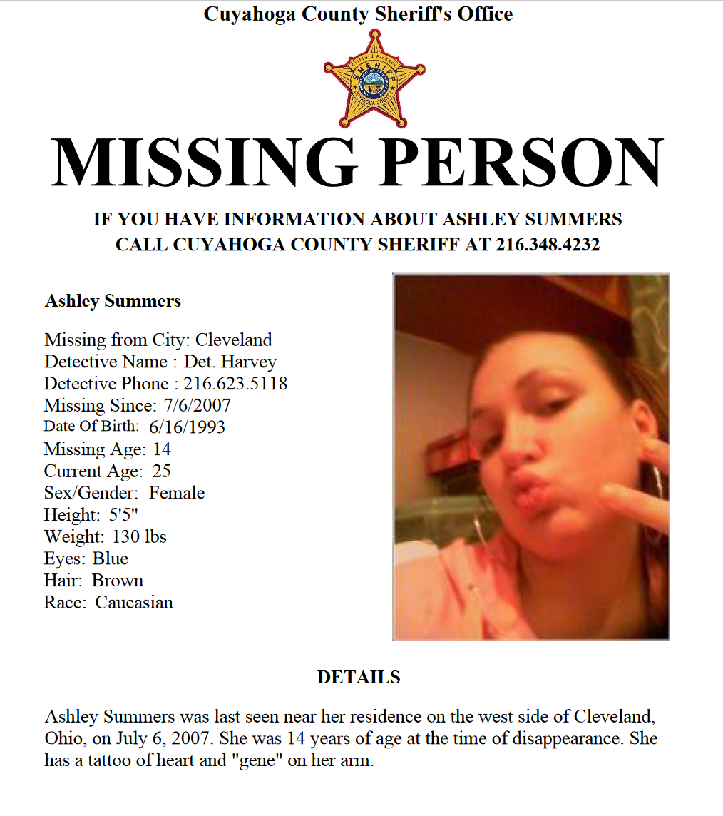 Missing teen Ashley Summers Ohio