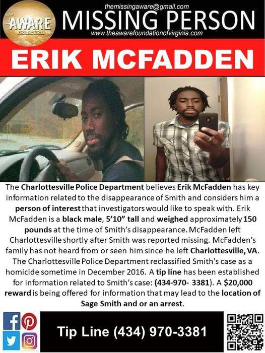 Erik McFadden Missing From Virginia