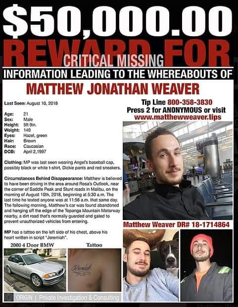 Matthew Weaver missing California
