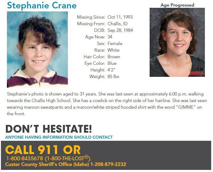 9 year old Stephanie Lyn Crane Missing Persons Case