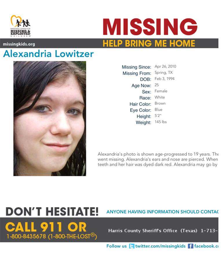 Alexandria Lowitzer Missing Texas