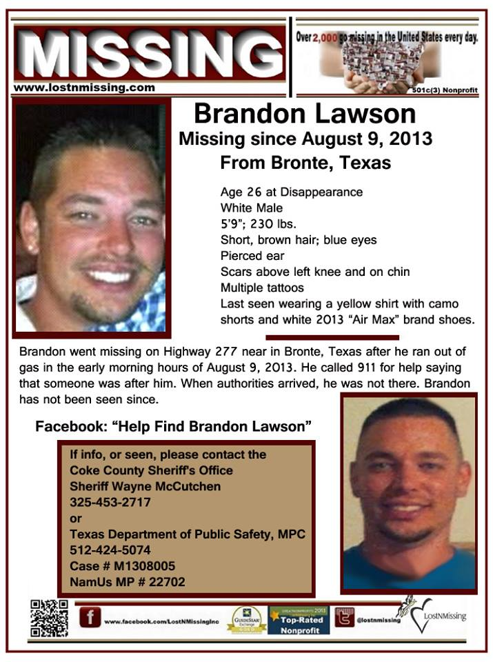 Brandon Lawson Missing Flyer