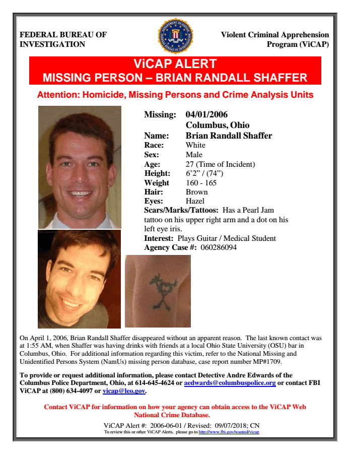 Brian Shaffer Missing Ohio