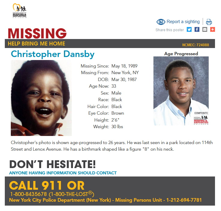 Christopher Dansby Missing From New York 1989