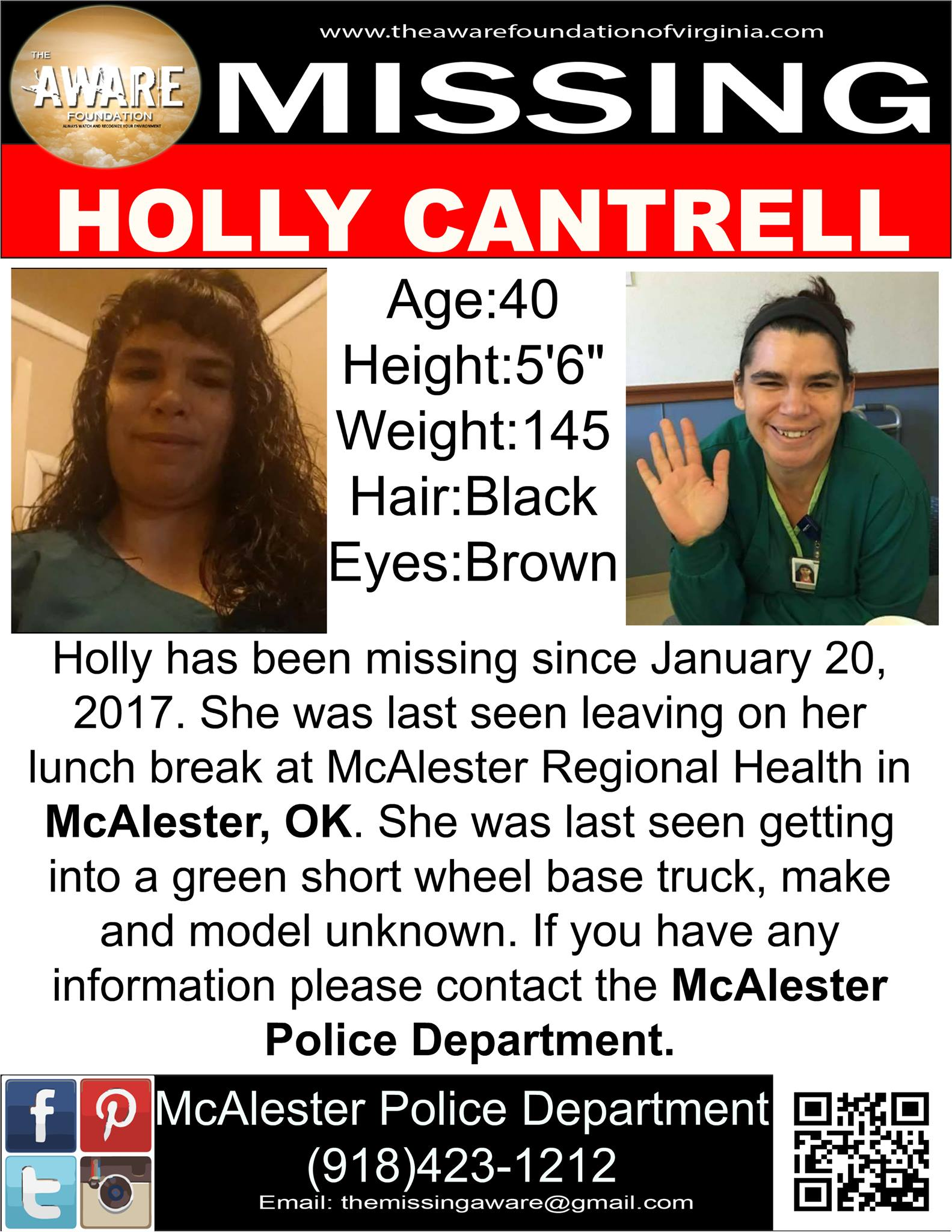 Holly Cantrell Missing Person Oklahoma