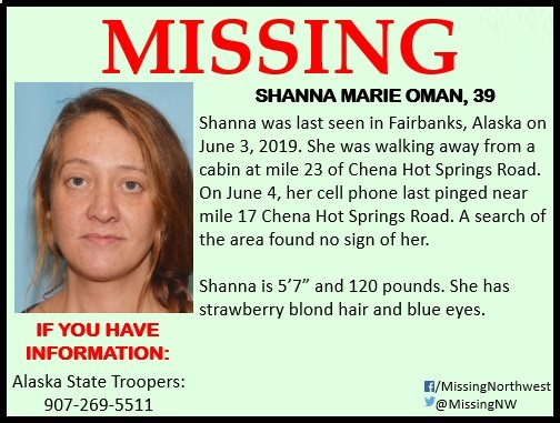 Shanna Oman Missing from Fairbanks, Alaska