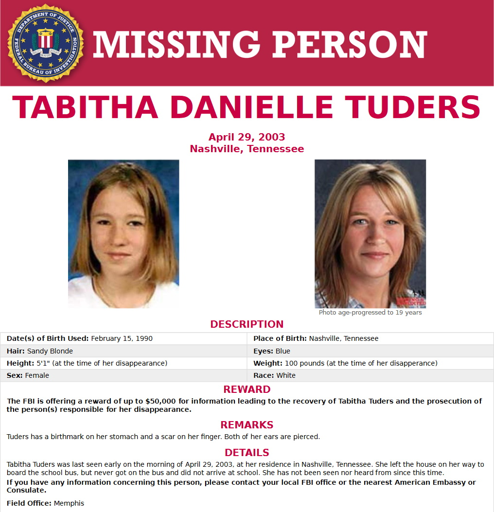 Tabitha Tuders 13 Years Old Missing