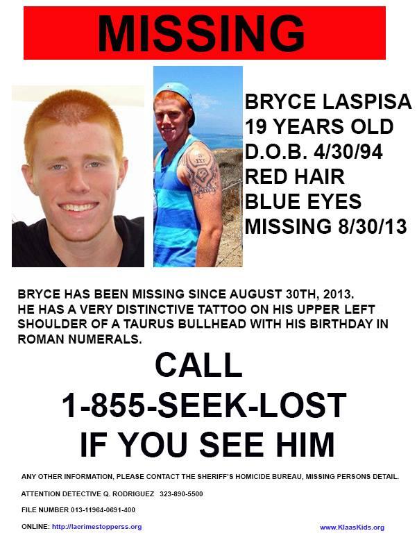 Bryce Laspisa Missing California