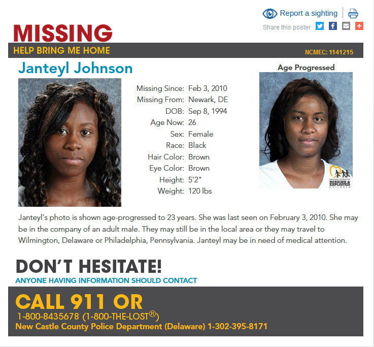 Janteyl Johnson Missing Delaware