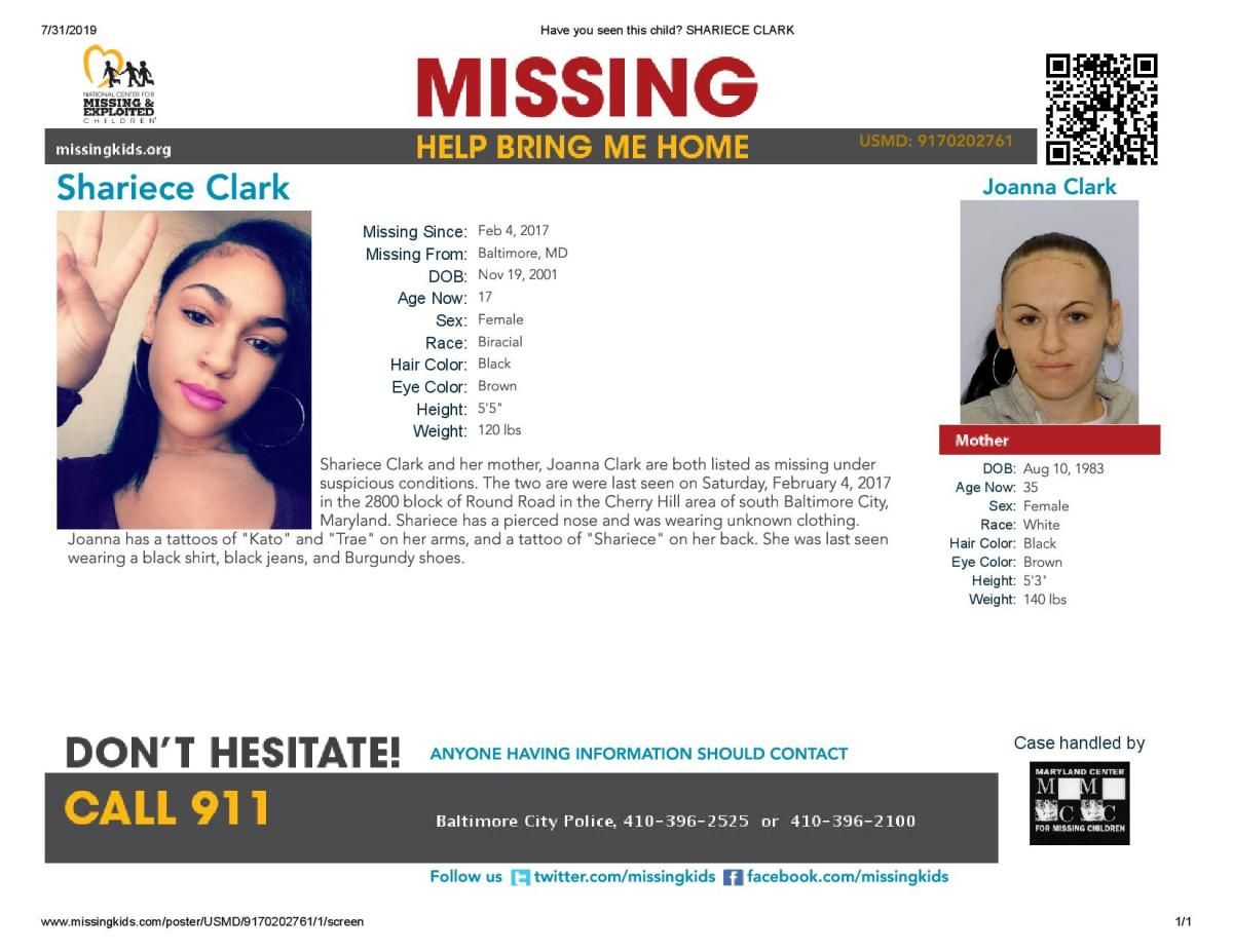 Shariece and Joanna Clark Missing Baltimore