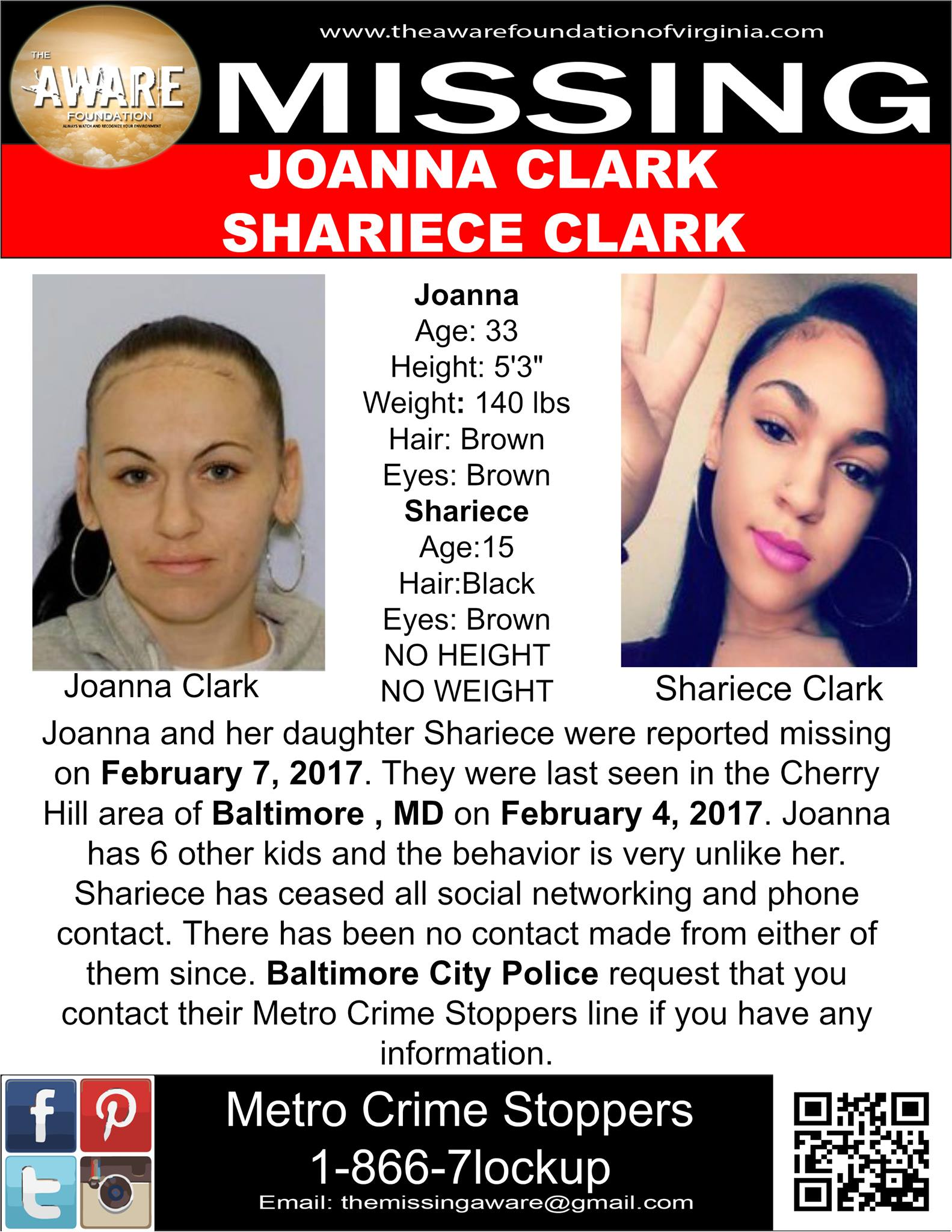 Joanna & Shariece Clark Missing 2017