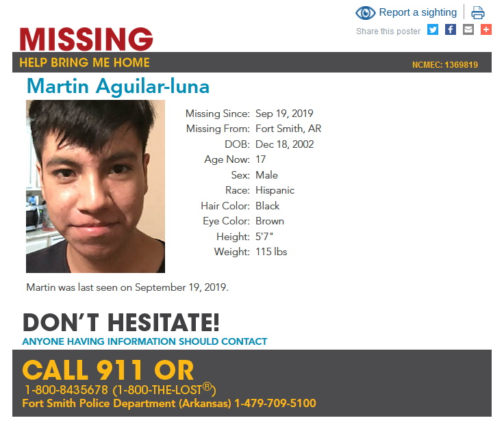 Martin Aguilar-Luna Missing from Arkansas
