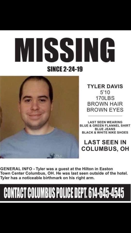 Tyler Davis Missing Person Columbus Ohio