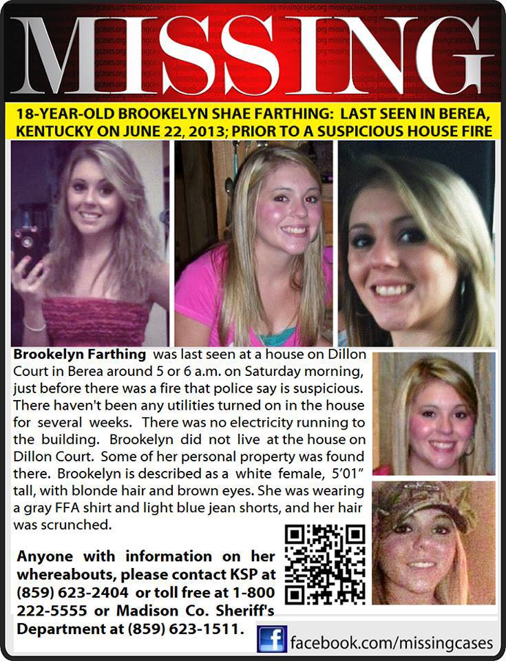 Brookelyn Shae Farthing Missing Persons Flyer
