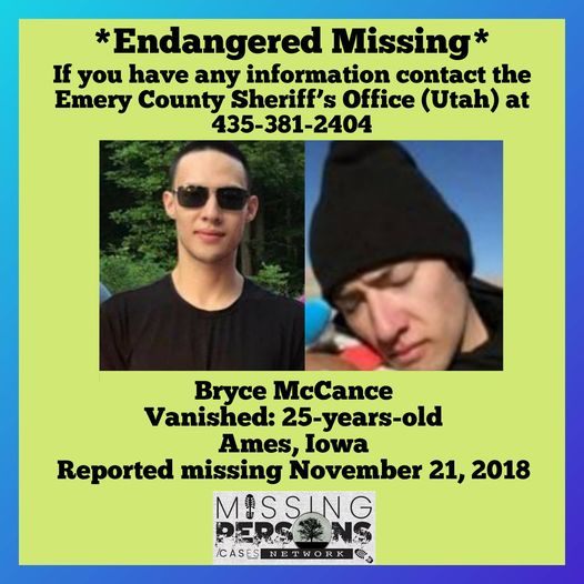 Bryce McCance Missing from Iowa