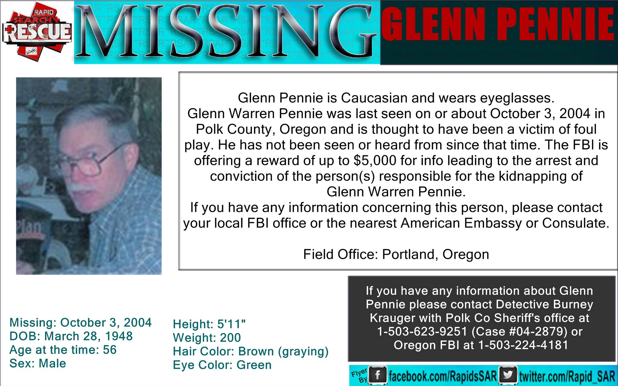 Glenn Pennie Missing Persons Flyer