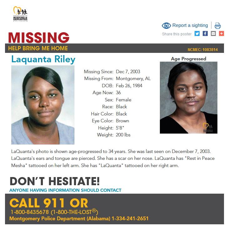 LaQuanta Riley Missing Person Alabama
