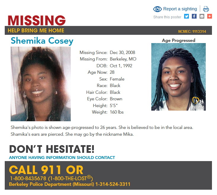 Shemika Cosey Missing Person Flyer