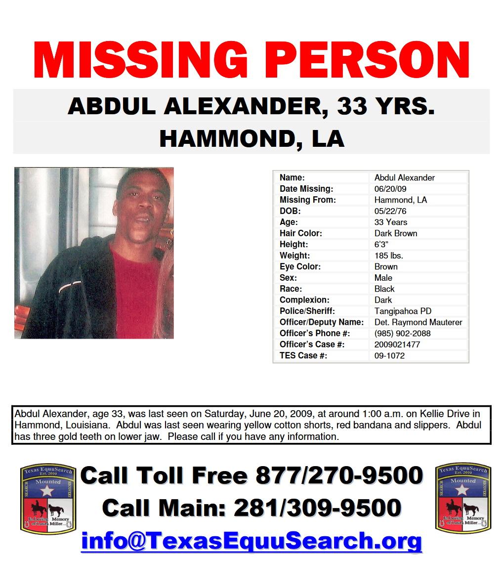 Abdul Alexander Missing