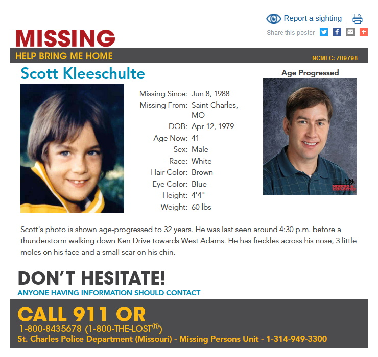 Scott Kleeschulte Missing Person