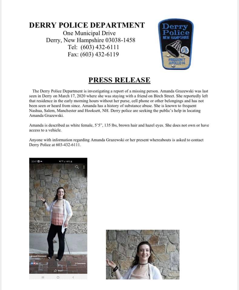 Amanda Grazewski Missing Press Release