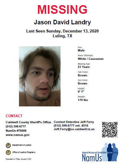 Jason David Landry Missing Person Flyer