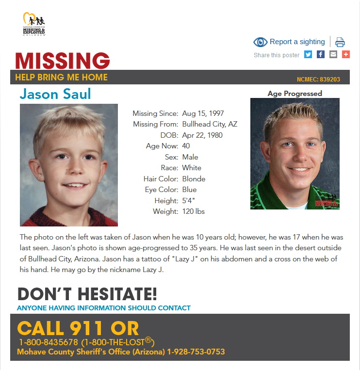 Jason William Noble Saul Missing
