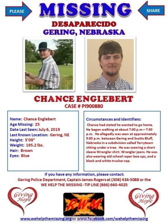 Missing Person Flyer Chance Englebert