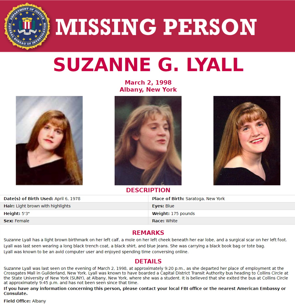 Suzanne Lyall Missing Person Flyer