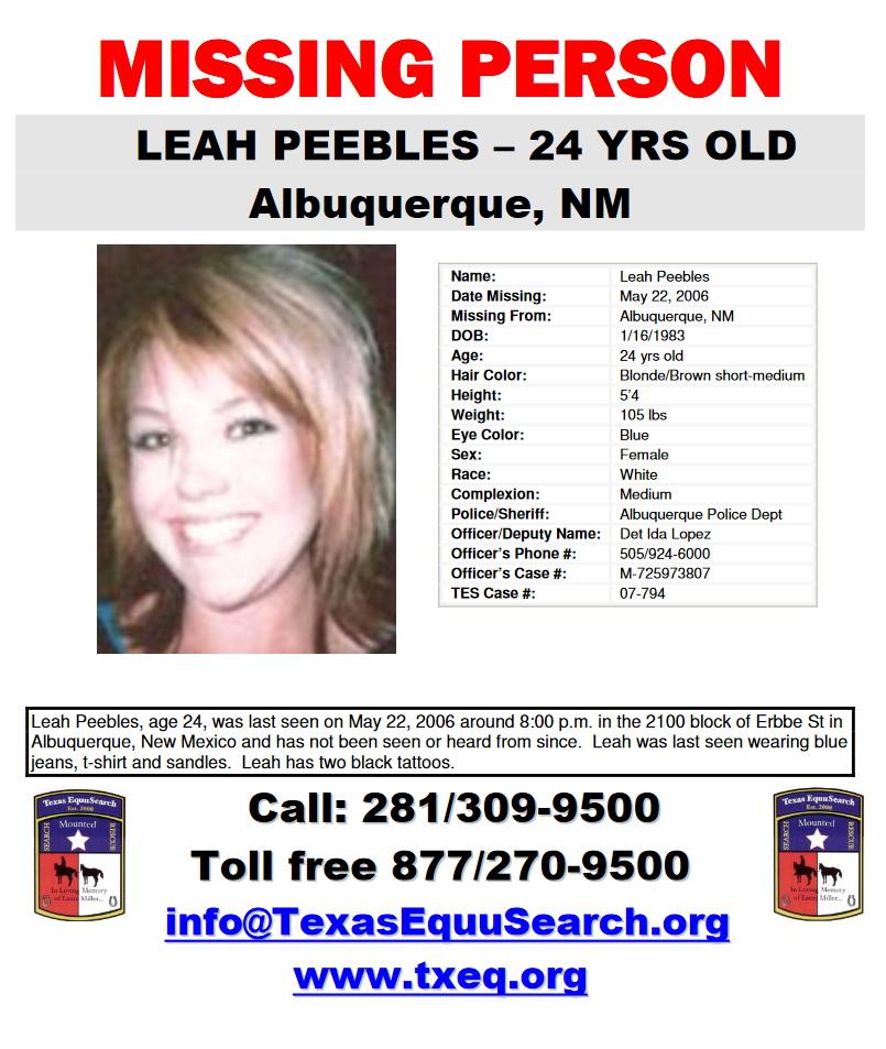 Leah Peebles Missing