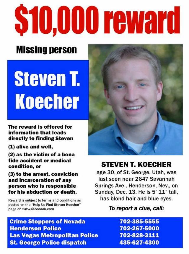 Steven Koecher Missing Person Flyer