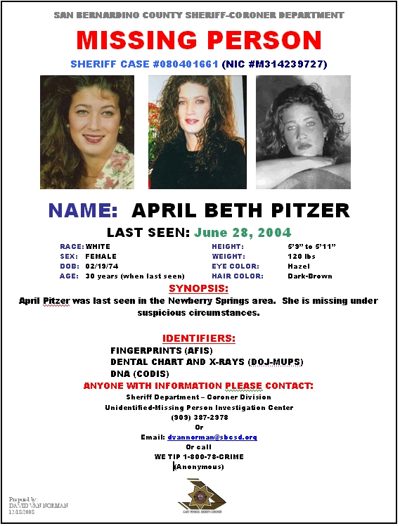 Missing Person April Pitzer