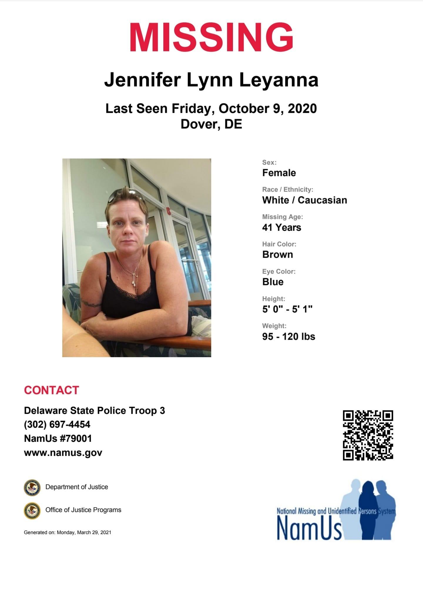 Jennifer Leyanna Missing Flyer