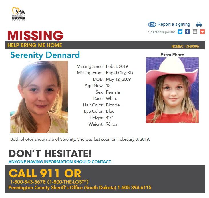 Serentiy Dennard Missing South Dakota